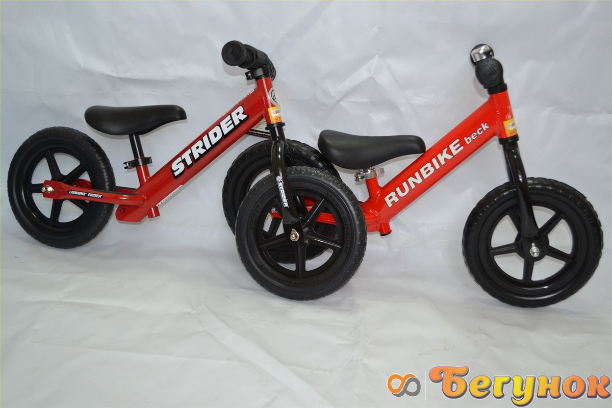 strider и runbike красного цвета