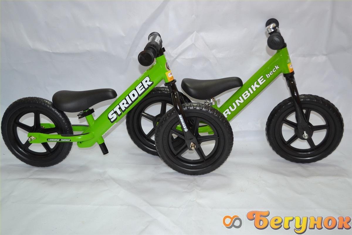зеленые беговелы runbike и strider